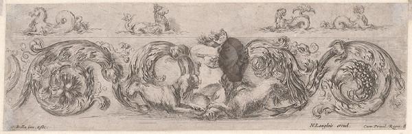Stefano della Bella – Ornament s putti a psíkmi