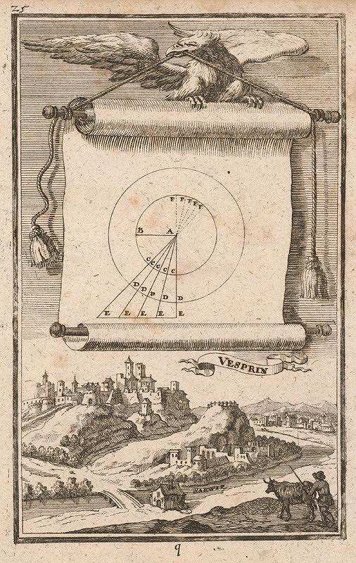 Gabriel Bodenehr st., Justus van den Nypoort - Geometrická figúra a pohľad na hrad Veszprém
