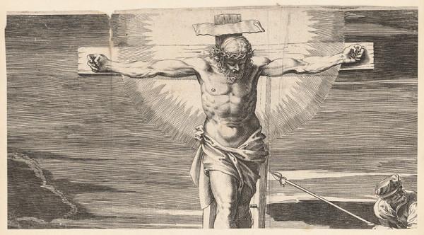 Marcus Sadeler, Jacopo Tintoretto - Fragment s ukrižovaným Kristom