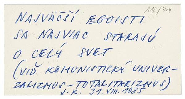 Július Koller – Archív JK/Malomeštiaci ktorým...
