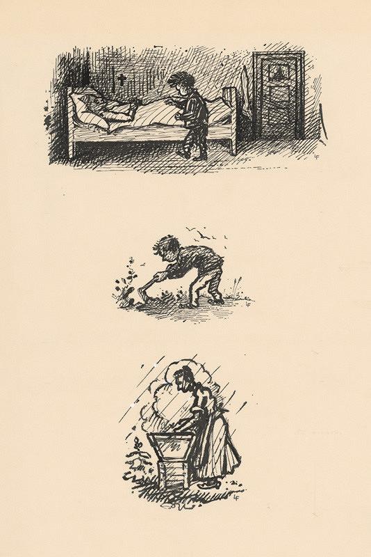 Ľudovít Fulla – 1. Chlapček pri smrteľnej posteli