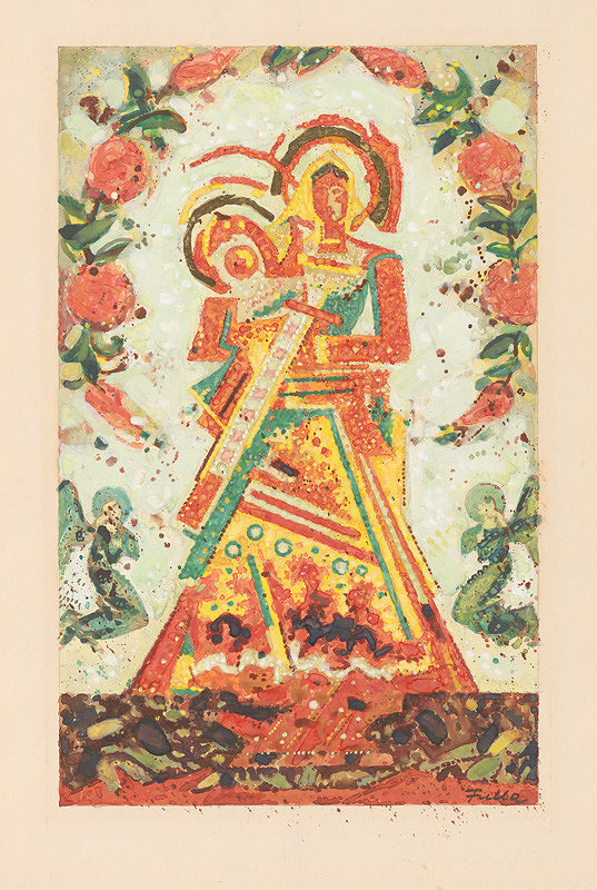 Ľudovít Fulla – Madonna (A Study for an Unrealised Painting Gingerbread Madonna Wearing a Flower Garland)