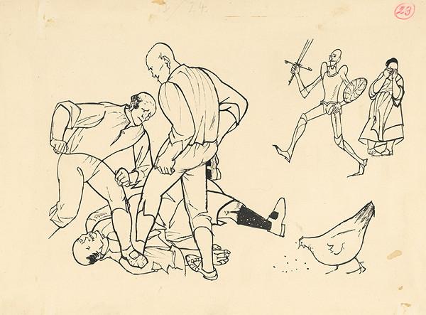 Vincent Hložník – Villagers Beating Sancho Panza