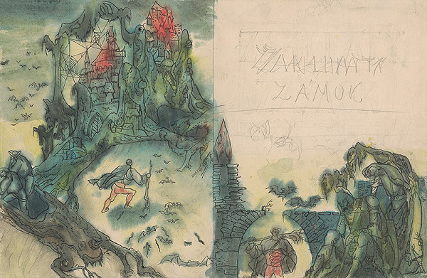 Ján Novák – Double-Page Cover for the Fairytale Enchanted Castle