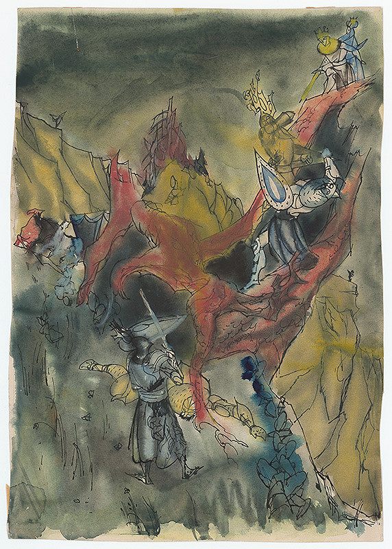 Ján Novák - Study for a Full-Page Illustration for a Fairytale