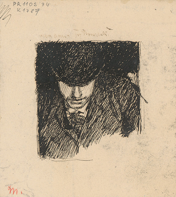 Milan Thomka Mitrovský – Study of a Bust of a Man in a Hat