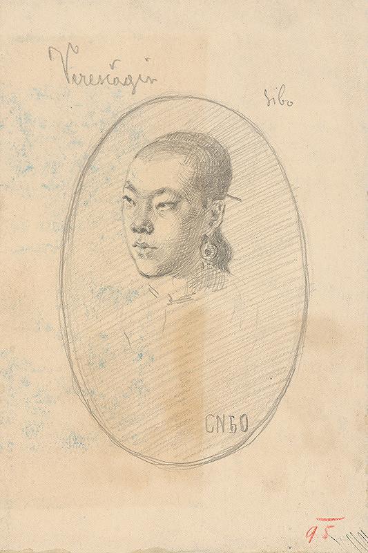 Milan Thomka Mitrovský - Portrait Study of a Woman Sibo with Earrings -  According to Vereshchagin