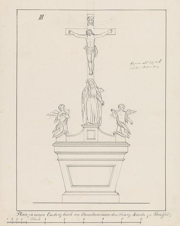 Konrád Švestka – Návrh na stôl pre sanktuárium pre františkánsky Kostol sv. Jána Krstiteľa v Bardejove
