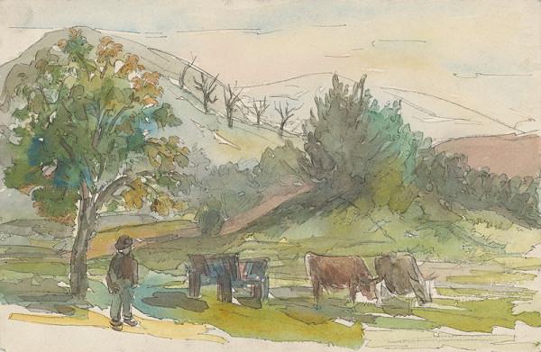 Jozef Ilečko – Landscape with a Cart and Two Bulls Grazing