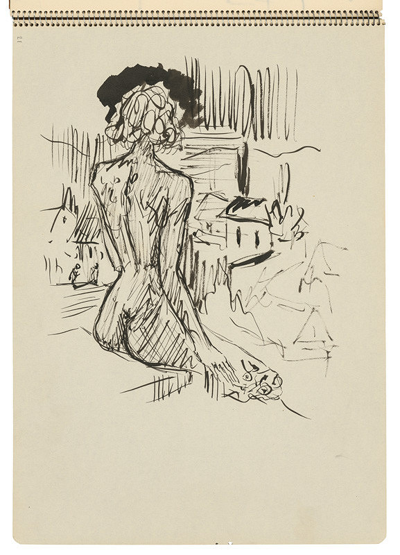 Arnold Peter Weisz-Kubínčan – Skicár 22 Sediaca žena v krajine