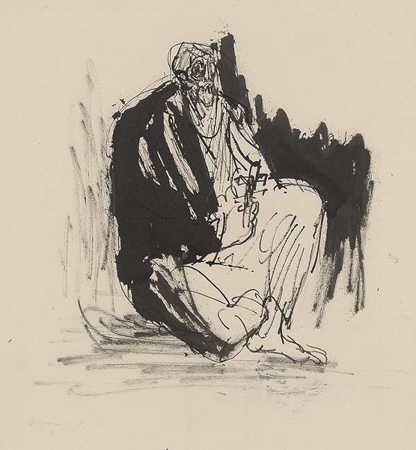 Jozef Kostka - Seated Beggar with a Crucifix in his Hand