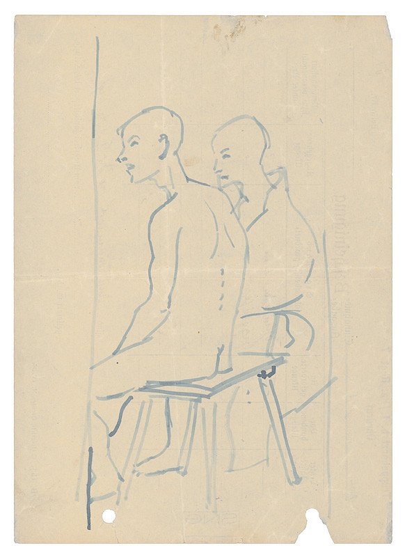 Jozef Fedora – Two Men sitting on a Bench in a Concentration Camp