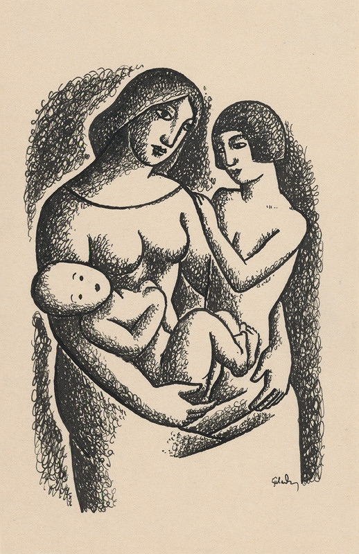 Mikuláš Galanda – Mother with Two Children in her Lap