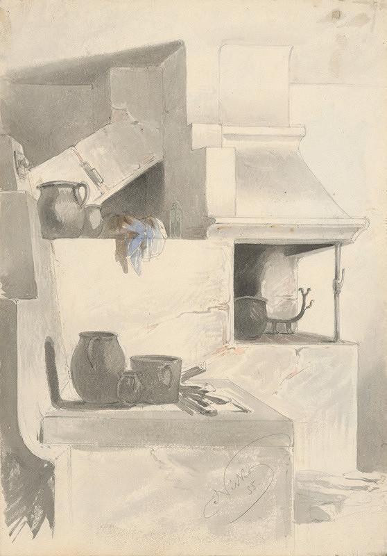 Friedrich Carl von Scheidlin - Sketch of Fireplace with Kitchen Utensils