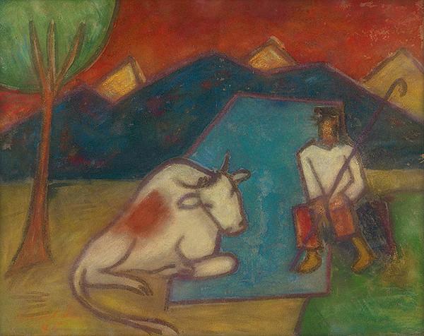Ľudovít Kudlák – Herdsman with a Cow
