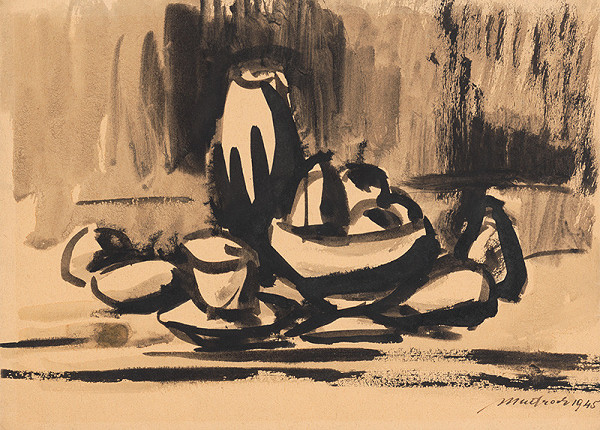 Ján Mudroch – Still Life with Vessels and Fruit