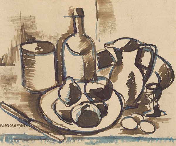 Ján Mudroch – Still Life with Fruit, a Bottle and a Jug