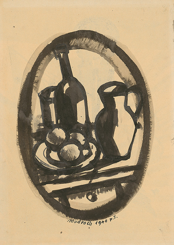 Ján Mudroch – Still Life with a Bottle, a Jug and Fruit