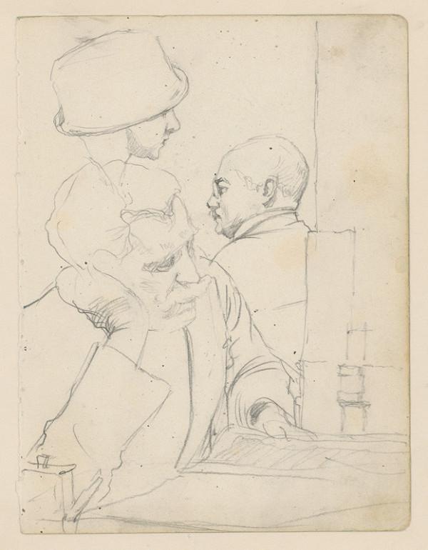 Ivan Žabota – Three Studies of Male Heads (Study from a Café)
