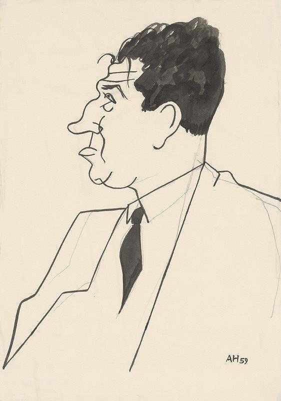 Adolf Hoffmeister – Caricature Drawing of Viliam Šalgovič