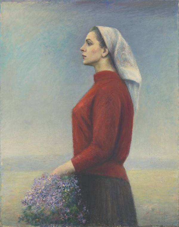 Ján Mudroch - Woman in Red (Flowers of Gratitude)