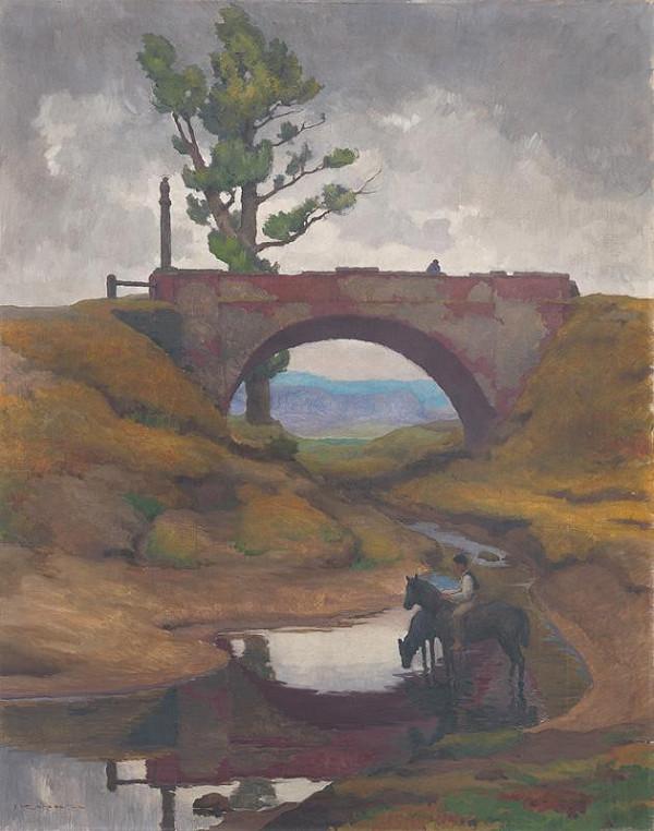 Július Koreszka – Landscape with Drinking Horses
