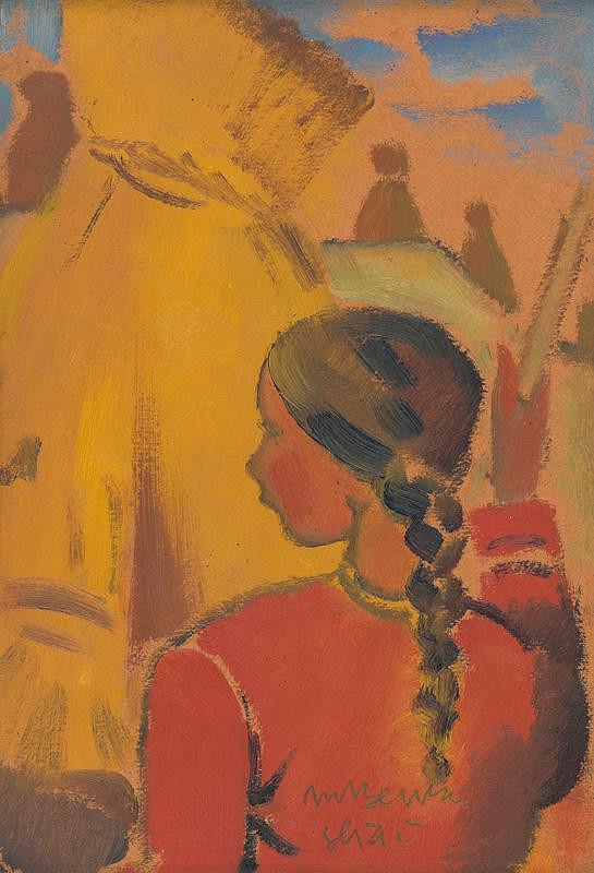 Martin Benka – Girl near a Cross of Haystacks - Sliač