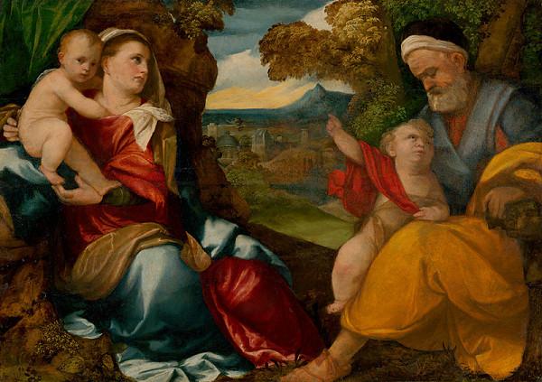 Bonifacio de' Pitati – Holy Family with Saint John the Baptist