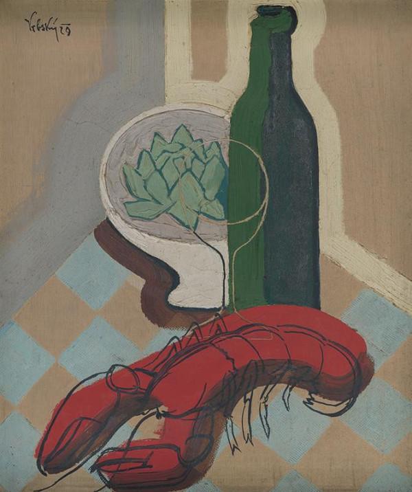 Václav Vrbský – Still Life with a Bottle and a Crayfish