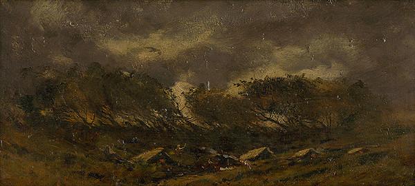 Ferdinand Katona – Gypsy Camp During a Storm