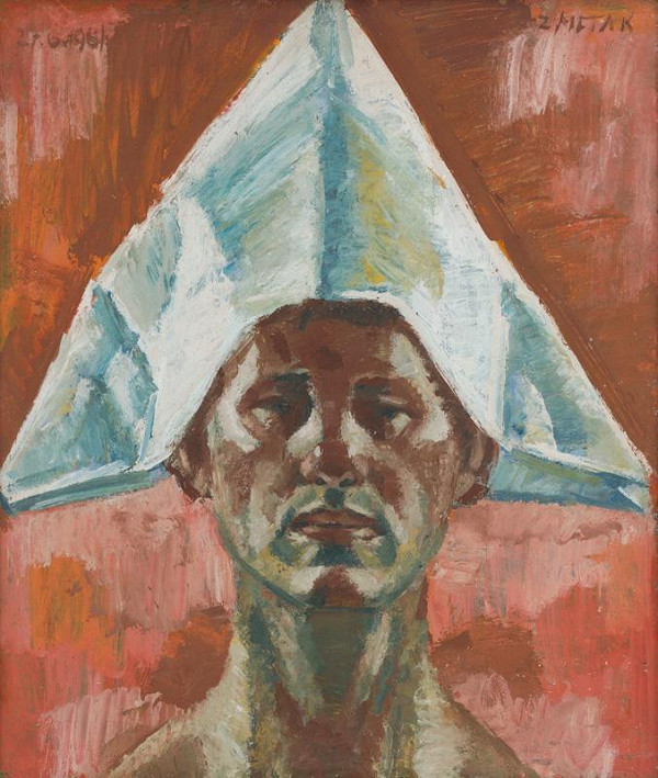Ernest Zmeták - Self-Portrait with a Paper Hat