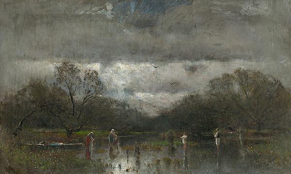 Ladislav Mednyánszky – Landscape with Washerwomen and Fishers