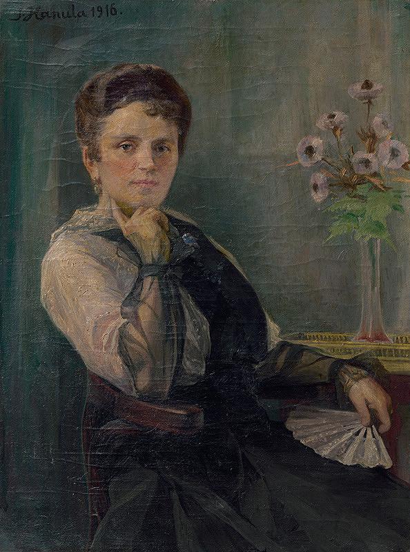 Jozef Hanula – Portrait of a Woman with a Fan