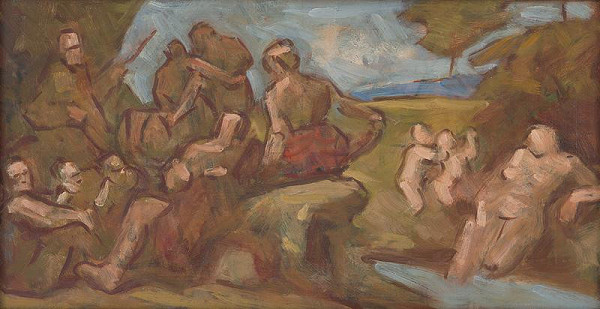Milan Thomka Mitrovský – Sketch of Composition with Bathing People