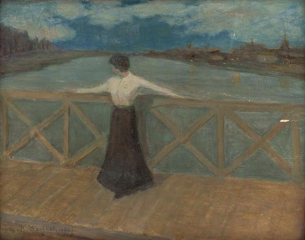Karol Pongrácz - Woman on a Bridge