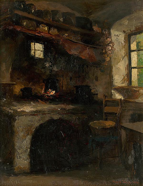 Felicián Moczik - Inside a Village Room