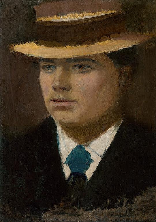Ladislav Mednyánszky - Young Man in a Straw Hat