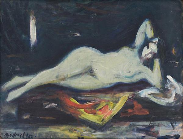Ján Mudroch - Reclining Nude in front of Mirror