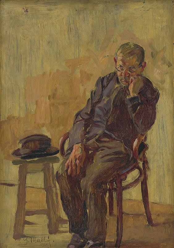 Gustáv Mallý - Study of a Seated Old Man