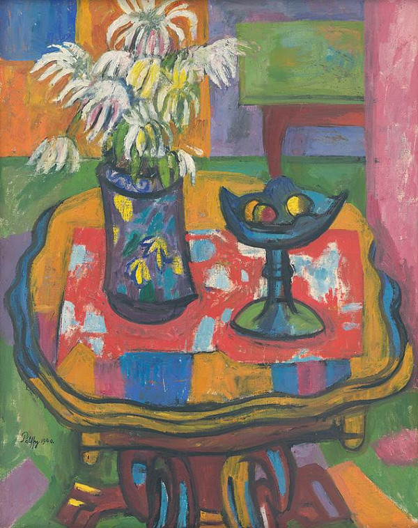 Peter Pálffy – Still Life on a Red Tablecloth