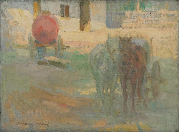 Elemír Halász-Hradil – Farm Yard with Yoked Horses