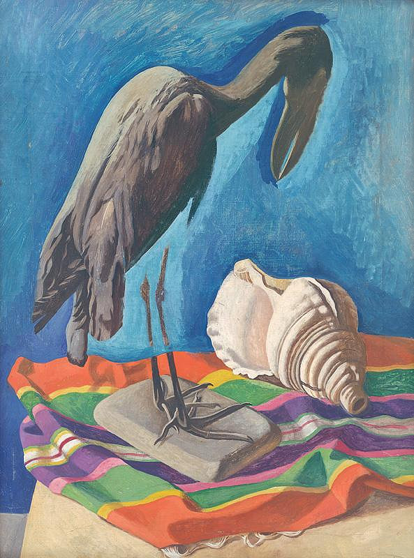 Peter Pálffy - Still Life with a Seashell and a Bird