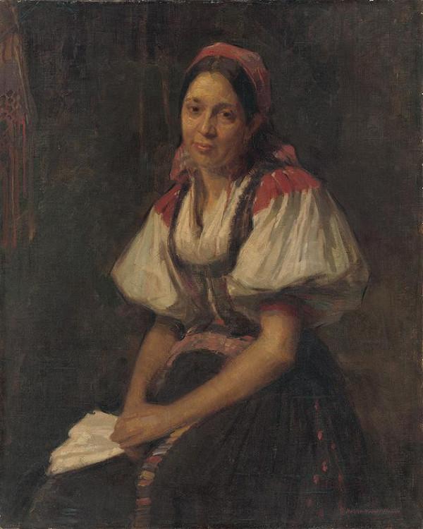 Elemír Halász-Hradil - Peasant Woman in Folk Costume