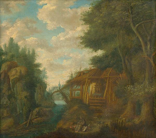 Nemecký maliar z konca 17. storočia – Landscape with a Hut