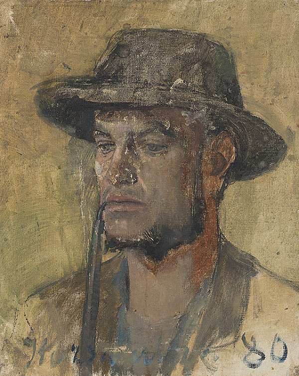 Ladislav Mednyánszky – Sketch of a Head of a Smoking Young Man