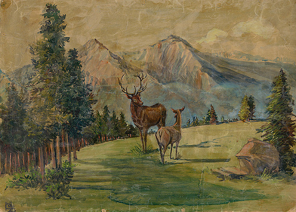 Margita Czóbelová - Deer in Mountain Meadow