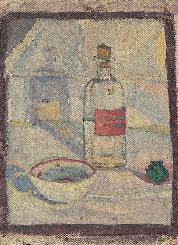 Margita Czóbelová - Still Life with a Bottle and a Bowl