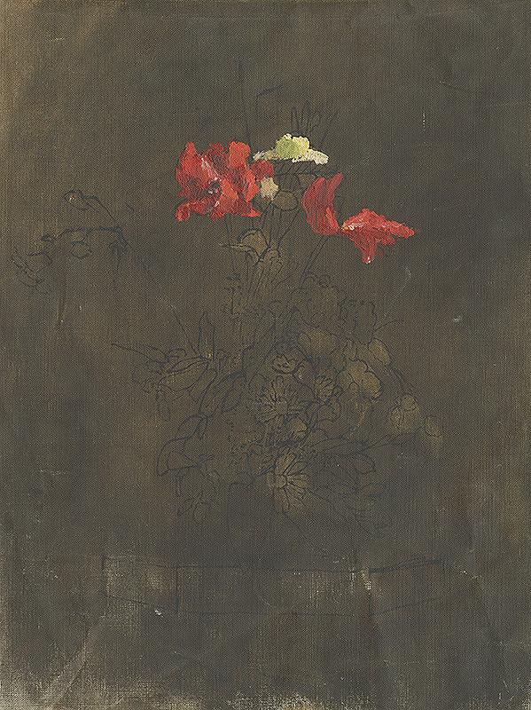 Margita Czóbelová - Sketch of a Bouquet on a Dark Background