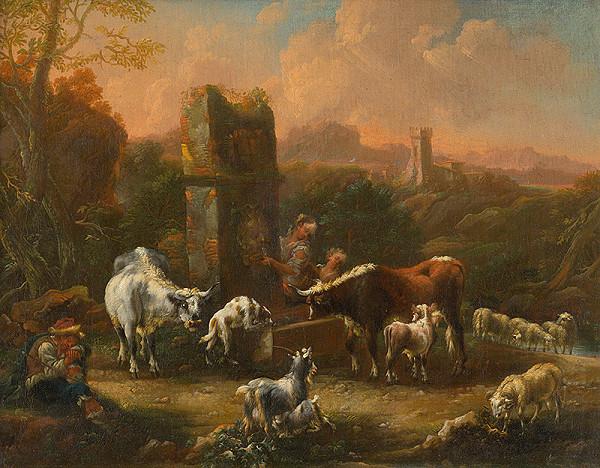 Philipp Peter Roos, Talianský maliar zo začiatku 18. storočia –  Pastoral Idyll in the Romantic Landscape with Ruins