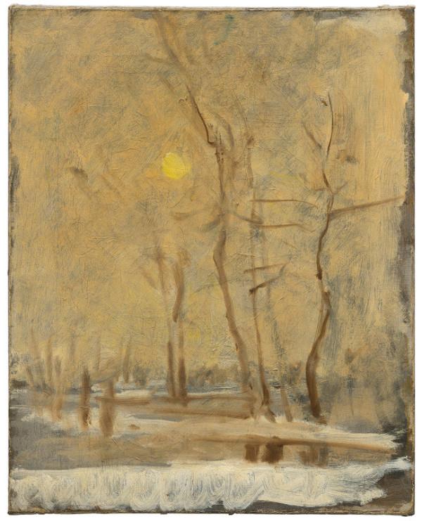 Ladislav Mednyánszky – Winter Sun in a Landscape with a Brook. Motif from Strážky